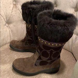 Coach suede winter  snow boot fur trim